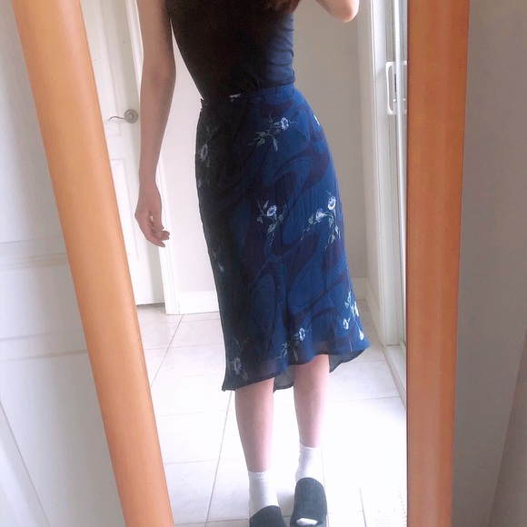 Japanese vintage floral dark blue midi skirt